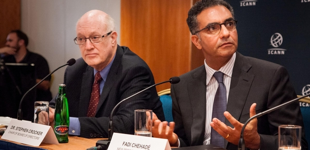 ICANN chair Dr Stephen Crocker and CEO Fadi Chehade (Photo Credits: ICANN)
